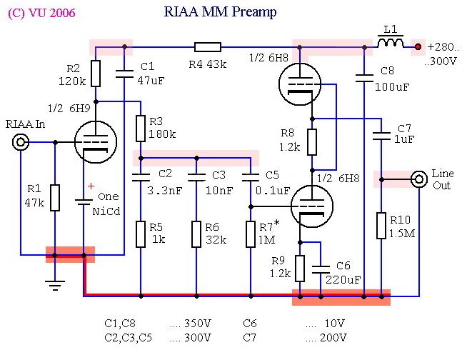 Иркутск.  Решил собрать корректор по ниже прикреплённой схеме.  Не нашёл лампу 6Н8С.  Чем её заменить.